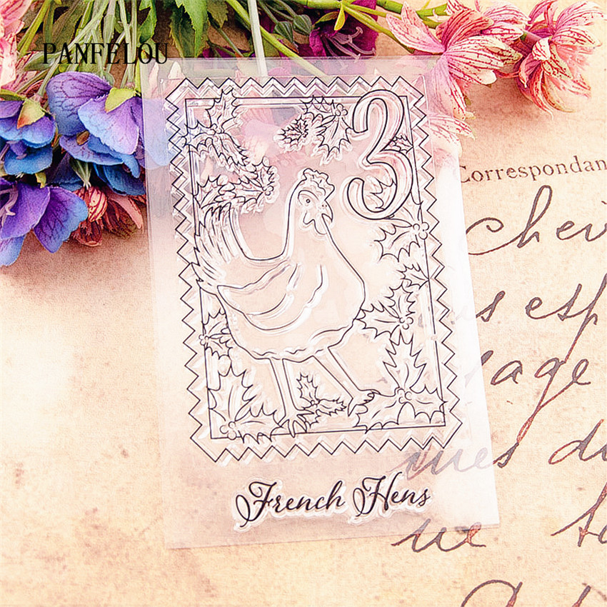 PANFELOU The hen stamps Transparent Silicone Rubber Clear Stamps cartoon for Scrapbooking/DIY Christmas wedding album