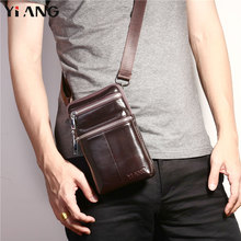 YIANG 2018 New Arrival Cross Body Shoulder Bags For Men Messenger Bag Business Casual Waist Bag Small Leather Belt Bag 2 Zippers