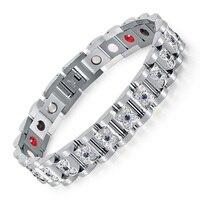 Fashion Rhinestone Bracelet Femme Silver Stainless Steel Crystal Bracelet For Women Magnetic Bio Lady Jewelry 2017