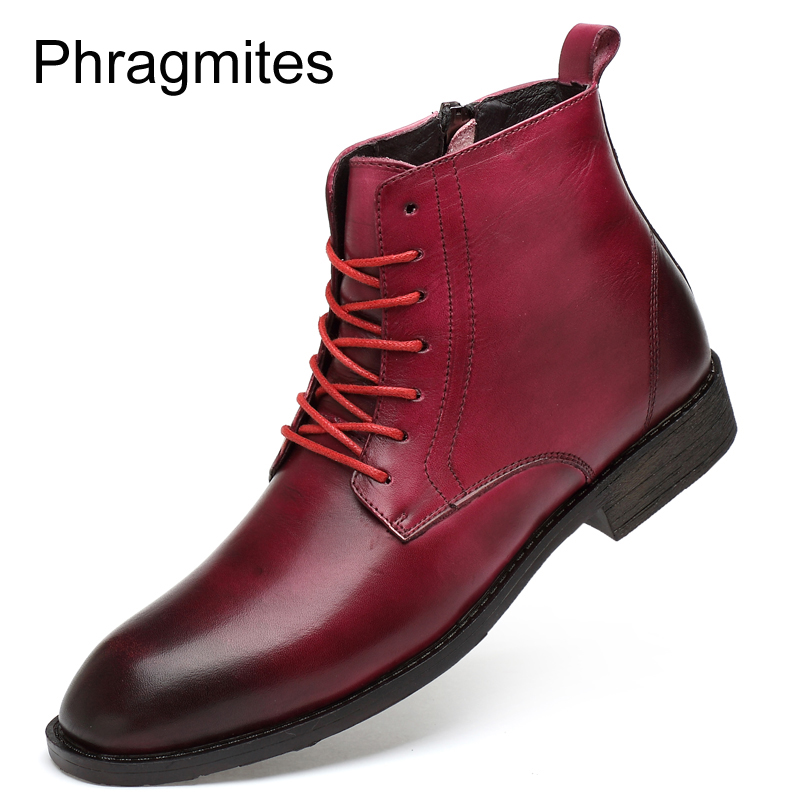 Phragmites High Top Ankle Boots Business Men Shoes England Pointed Toe Boots Zipper New Arrivals Fashion