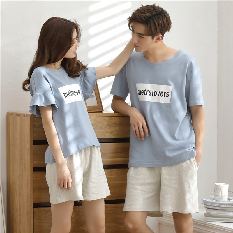 Home Men's Clothing Summer Pajamas For Couples Short-sleeved Cotton Loose And Thin Men's Household Clothes Men's Home Pants