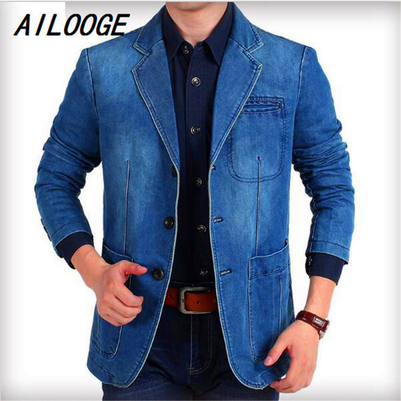 AILOOGE Spring Fall Vintage Casual Mens Long Sleeve Suit Collar Denim Blazer , 3xl 4XL Autumn Male Plus Size Jeans Blazers Coats