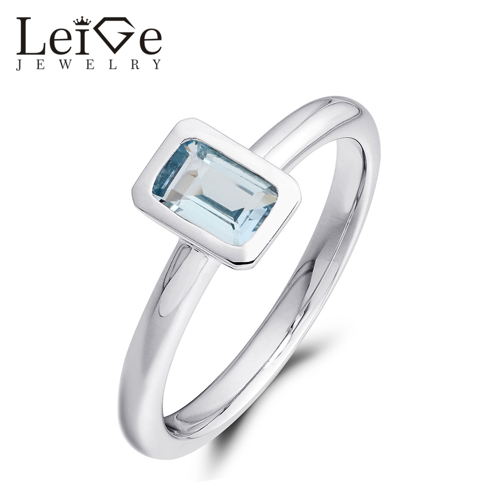 Здесь продается  Leige Jewelry Bezel Setting Natural Blue Aquamarine Ring March Birthstone Sterling Silver 925 Jewelry for Women Wedding Rings  Ювелирные изделия и часы