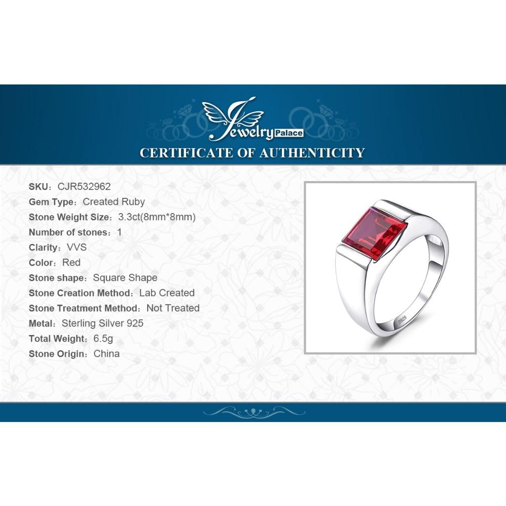 Jewelrypalace Для мужчин площади 3.3ct создан красный рубин 925 Щепка Обручение кольцо для Для мужчин Красивые ювелирные изделия Кольца модная мужская