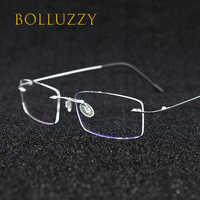 Rimless eyeglasses titanium oculos de sol glass optical men 1623 prescription classic spectacle business myopia trimming light