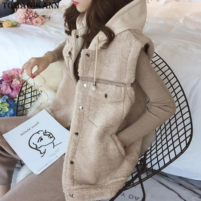 Women Warm Vest Tops Casual Hooded Pockets Patchwork Waistcoat Ladies Fashion Single Breasted Jackets Outwears femme colete