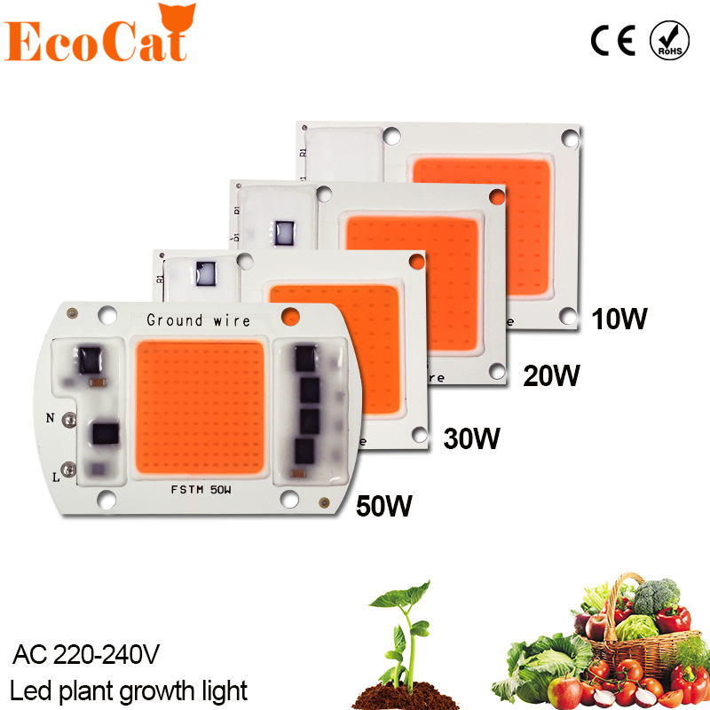 ECO CAT Grow LED Chip AC 220V 10W 20W 30W 50W COB Chip Light Full Spectrum 380nm-840nm For Indoor Plant Seedling Grow and Flower high power led chip grow light 380nm 840nm 1w 3w 5w 10w 20w 30w 50w 100w full spectrum plant growing garden bulb vegetable diode