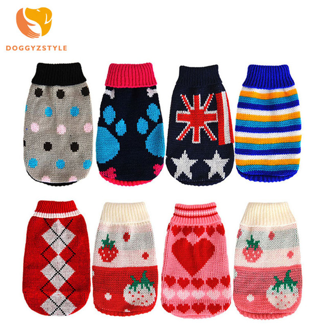 Pet Clothes Warm Dog Clothing Small Dog Knit Sweater Lovely Cat Costume For Small Puppy Chihuahua XS-2XL DOGGYZSTYLE