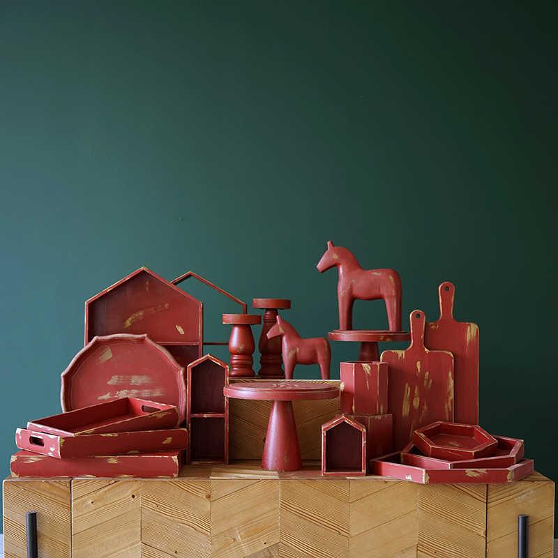 Vintage Red Cake Stand Cupcake Nampan Dekorasi Rumah Natal Rak Penyimpanan Makanan Penutup Pesta Supplier Gaya Cina