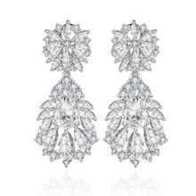 Female Fashion Earrings Wedding party Jewelry Luxury Clear C
