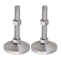 Stainless Steel 80mm Dia M16x100mm Thread Fixed Adjustable Feet for Machine Furniture Feet Pad Max Load 3Ton Pack of 2