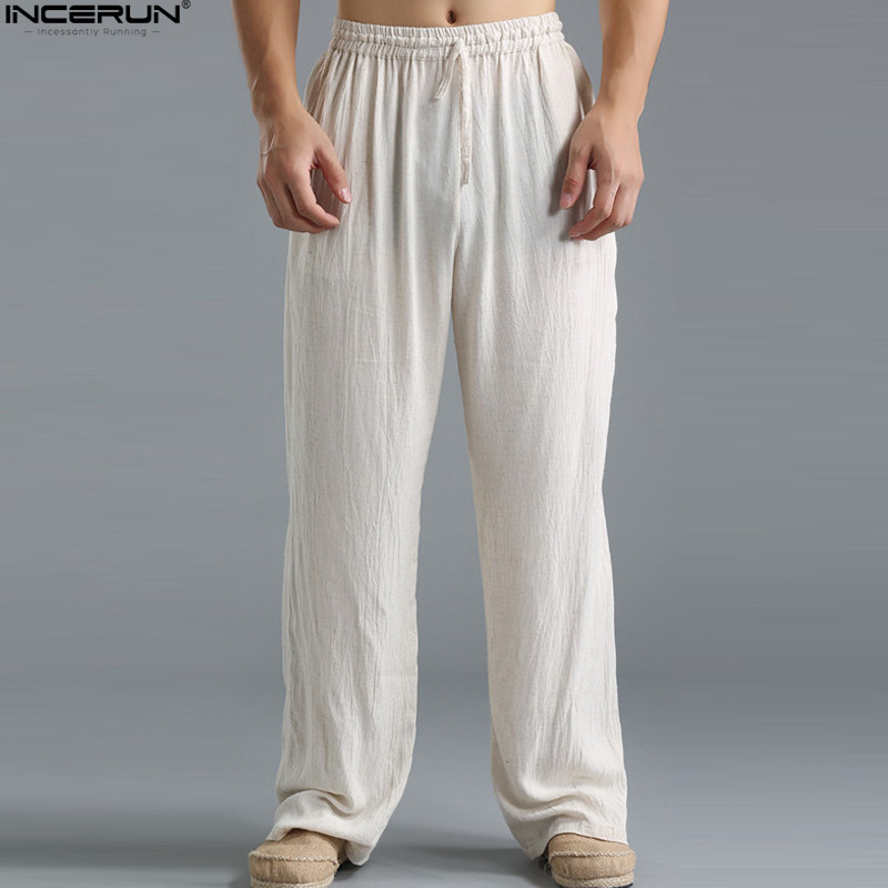 Spring Summer Men Pants Casual Mens Business Trousers Thin Linen Loose Elastic Waist Chinese Style Pants Spring Summer Men Pants Casual Mens Business Trousers Thin Linen Loose Elastic Waist Chinese Style Pants Straight Trousers Men