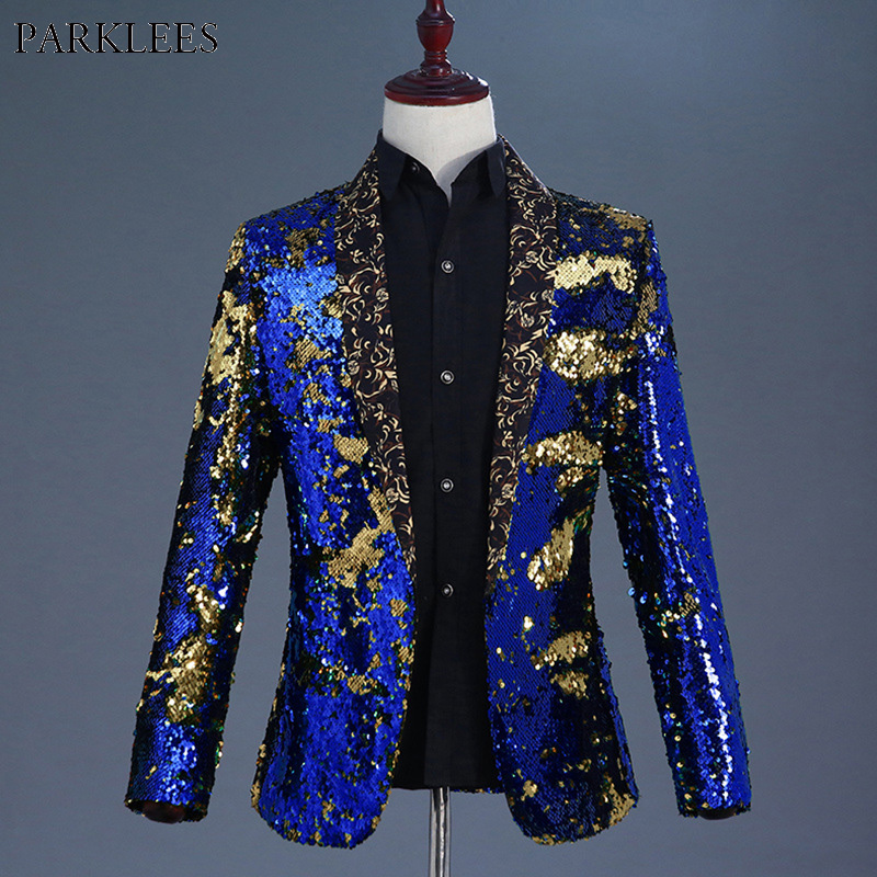PARKLEES Luxury Royal Blue Sequin Dress Nightclub Shawl Collar Mens Suit Jacket