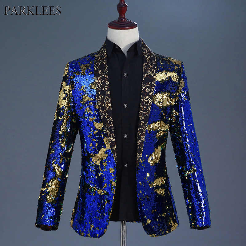 Luxury Royal Blue Sequin Dress Blazer Men Nightclub Stage Shawl Collar Mens Suit Jacket Wedding Party Stage Blazer Masculino 2XL