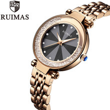 Ruimas Rose Gold Watch Women Business Luxury Casual Waterproof Quartz Watches Female Wrist Girl Clock Relogio Feminin