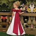 Alta Qualidade Breve Vestidos de Comunion Boat Neck A Linha Big Red Sash Comunhão Santamente Vestidos de Natal Menina Vestidos 2-12 Y