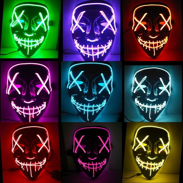 Halloween Purge Mask EL Lighted Msak Cosplay Costume Party Mask Election Funny Mask Gift Festival Carnival Rave LED Glowing Mask