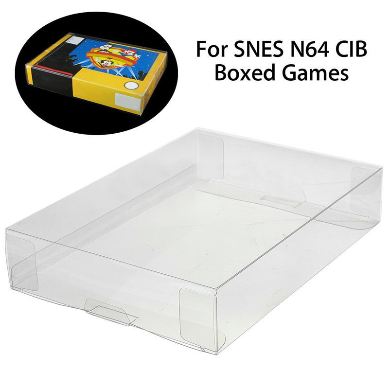 Mayitr 1pc Custom Clear PET Box Pro Protectors Game Case Sleeves Covers For SNES N64 CIB Boxed Games