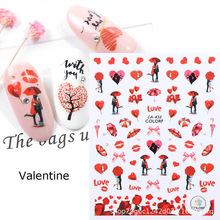 Newest CA-139 163 432 Valentine red heart pattern 3d nail manicure back glue decal decoration design nail art stickers цена 2017