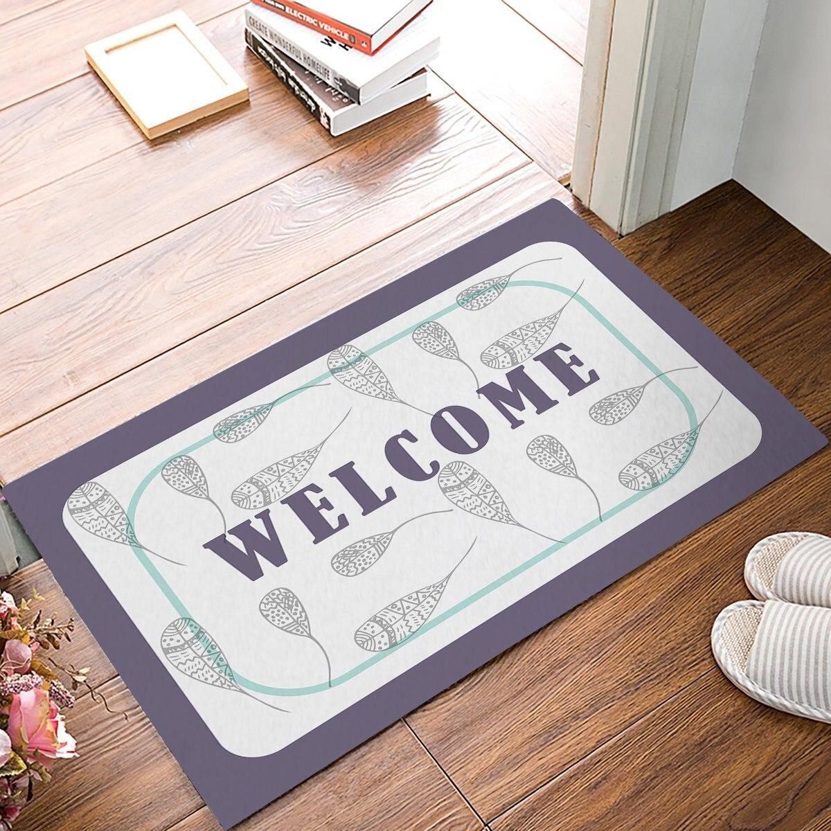 Vintage Welcome - Blue And Yellow Door Mats Kitchen Floor Bath Entrance Rug Mat Absorbent Indoor Bathroom Decor Doormats