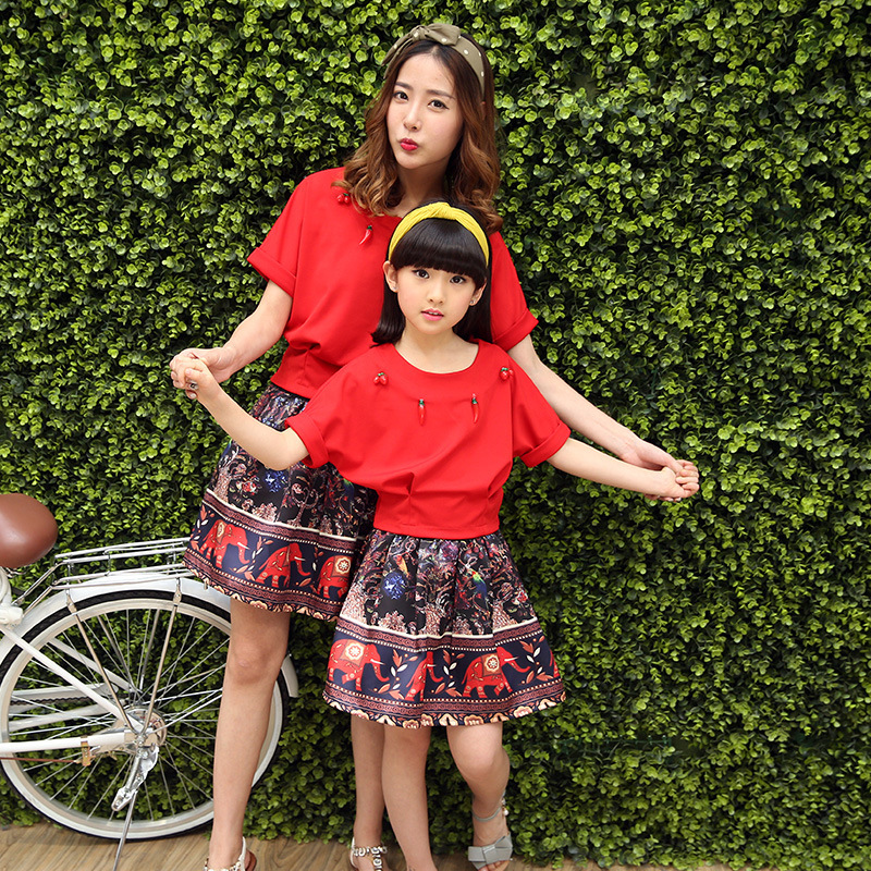 Parenting Summer Wear Pattern Suit Korean Short Sleeve Cartoon Mother And Daughter 2 Pieces Kids Clothing Sets woody mutambo abraham sinyei and josephat onyancha parenting styles experienced by adolescents and assertive behaviour