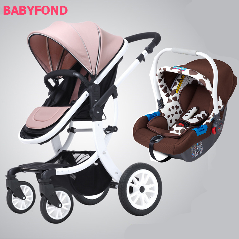 3 in1 stroller High landscape baby stroller can sit reclining lightweight folding shock absorber BB baby children push stroller retro style sleeveless sweetheart neck polka dot spliced women s dress
