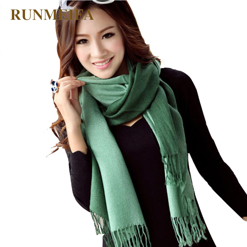 [RUNMEIFA]Wholesale 2017New Fashion Winter Women Pashmina Cashmere Gradual color   Scarf   two double Colors   Wrap   Shawl Tassel   Scarf