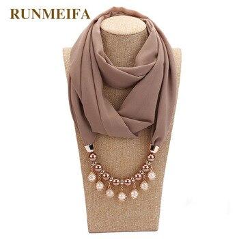 14 видов цветов, новый дизайн, шарф, ожерелье для женщин, модное жемчужное ювелирное ожерелье, мусульманское, защита от солнца, обернутый шифо...