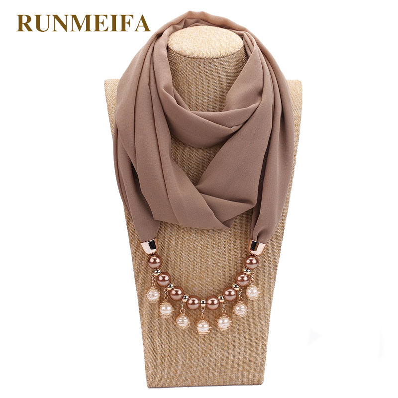 14 colors New design scarf necklace for women fashion pearl jewelry necklace of muslim Sun protection Wrapped Chiffon scarf gift