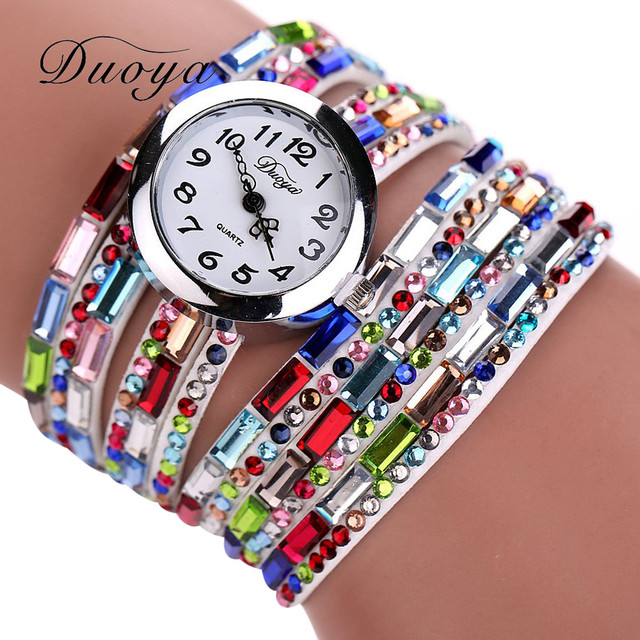 Duoya Fashion Crystal Bead Women Bracelet Watch Ladies Analog Quartz Wristwatche