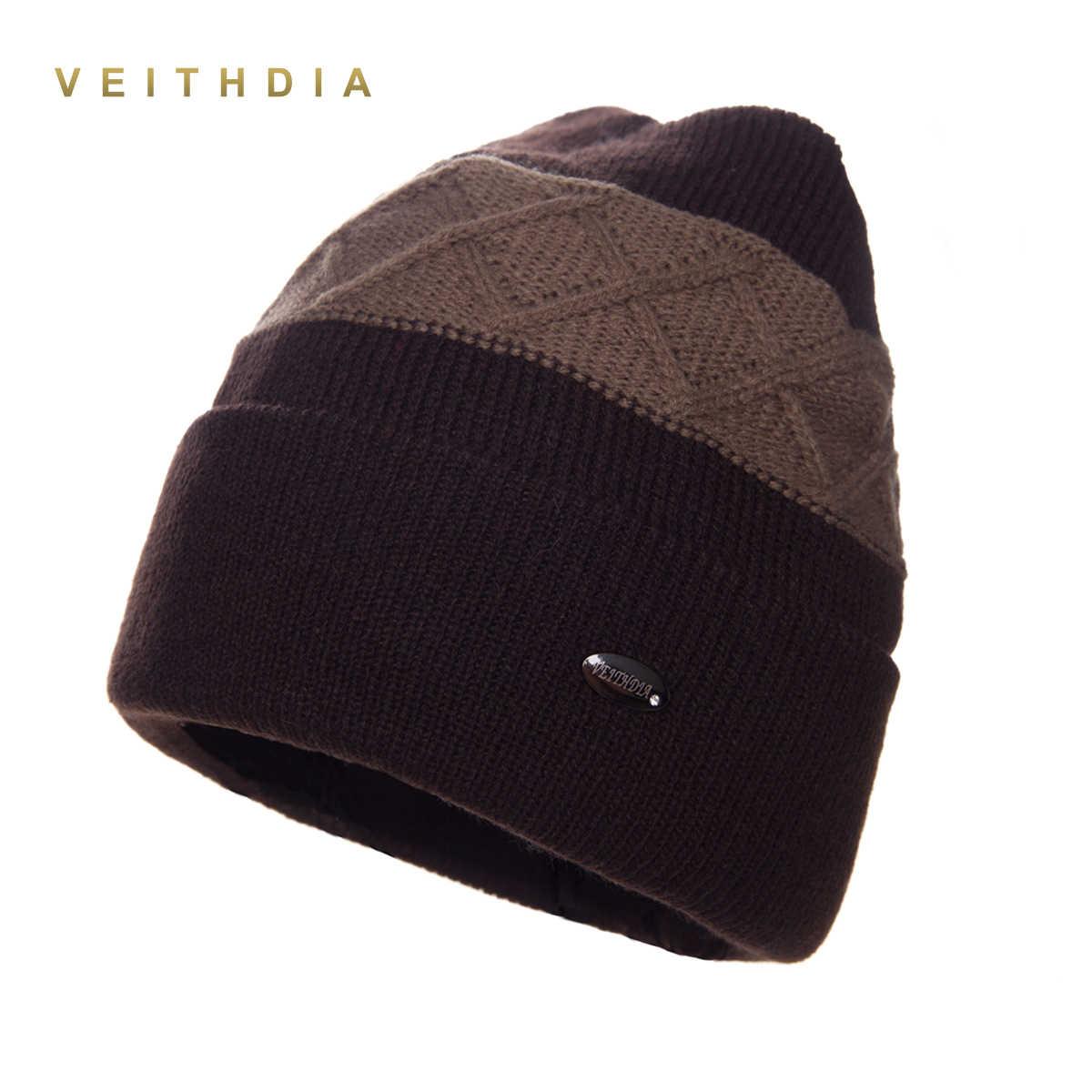 ... VEITHDIA Super cool Skullies hats for men beanies Knitted plus velvet  Patchwork Color Cap winter men s ... 500db59e060