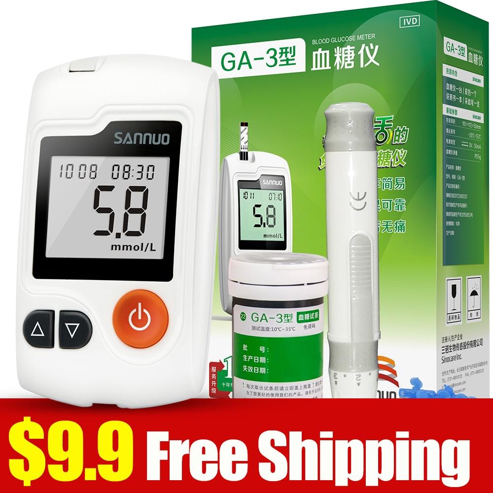 Englisch Manuelle Sinocare Sannuo GA-3 Blut Glucose Meter 25 Teststreifen 25 Lanzetten Blut Zucker Meter Glucometer Diabetes Tester
