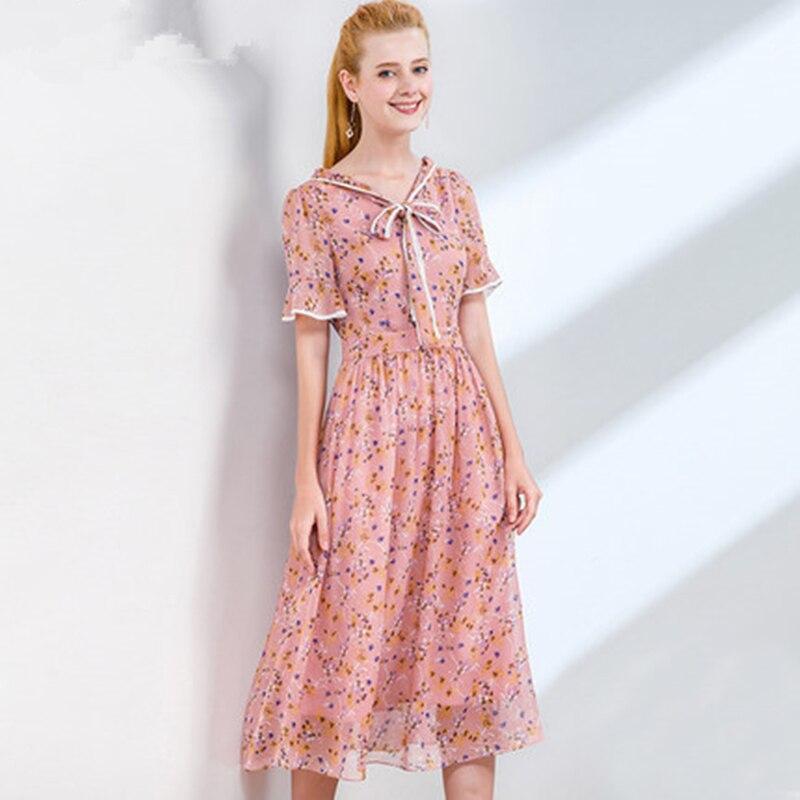 ligne Tempérament V Arc À Robes Floral Soie Nouveau Taille cou De Mousseline Femme Mode Haute Robe 2019 Xjj357 Courtes A Été Pink Manches R53jAL4