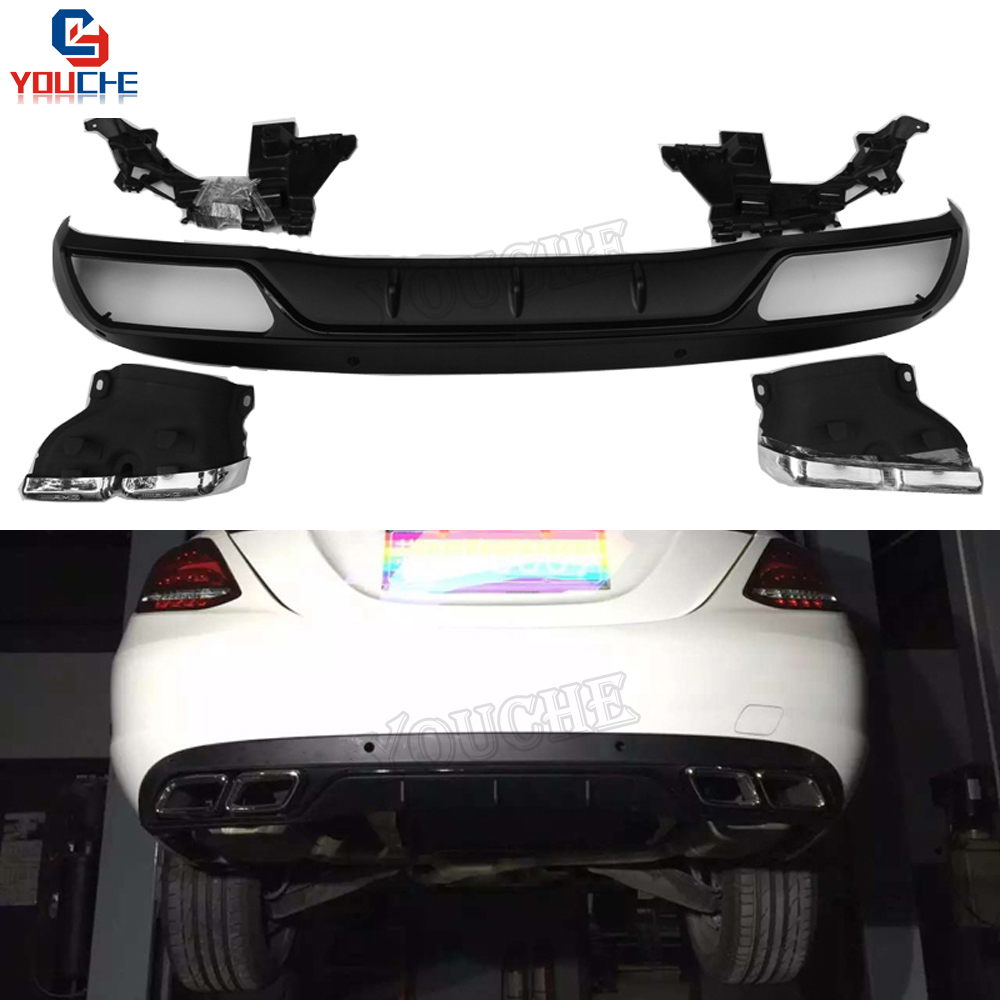 AMG Style Black Rear Bumper Diffuser For Mercedes W205 C Class 2015 + 4 outlet Exhaust Tips Endpipe C200 C250 C300 C350