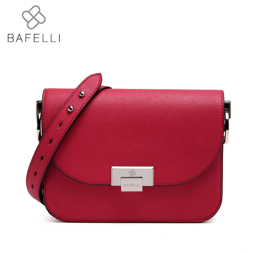 BAFELLI split leather crossbody bag small solid flap women luxury shoulder bag hot sale red Beige women messenger bag