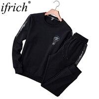Tracksuits Men 2 Piece Tracksuit Set Solid Sweat Suit Men Track Suits Set Coat+Pants Outwear SportsSuit Jacket and Sweatpant 4XL