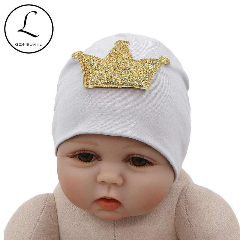 d97dacec6fa GZHilovingL New Cute Cotton Crown Hat Beanies For Newborn Baby Girls Boys  Spring Winter Soft Infant