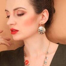 Baroque rhinestone drill earrings round Evil Eye Charm Gold Loop Drop Earrings For Women  Party