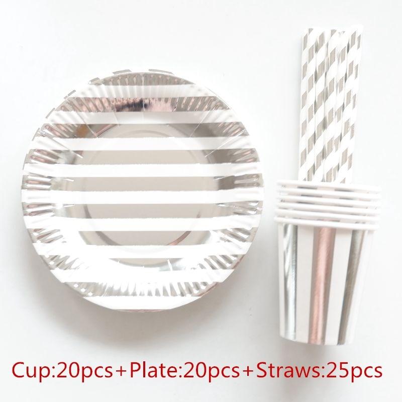 28pcs//set Disposable Tableware Paper Plate Dinner Wedding Party Supplies Decor