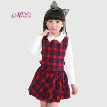 Girls Clothes Sets Spring Autumn Kids Girls School Uniform Plaid Vest+T-shirt+Skirt Pants 3 Pcs/Set 4-12 Years Children Clothing
