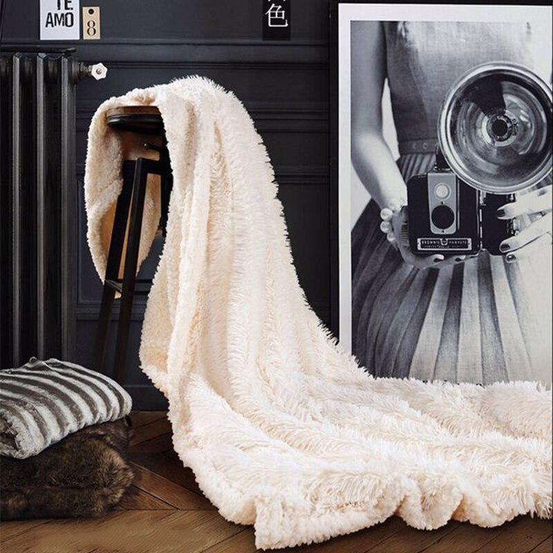 Двухслойное супер мягкое одеяло для теплого сна для пледы одеяло отель искусственное меховое одеяло диван зима - Цвет: white
