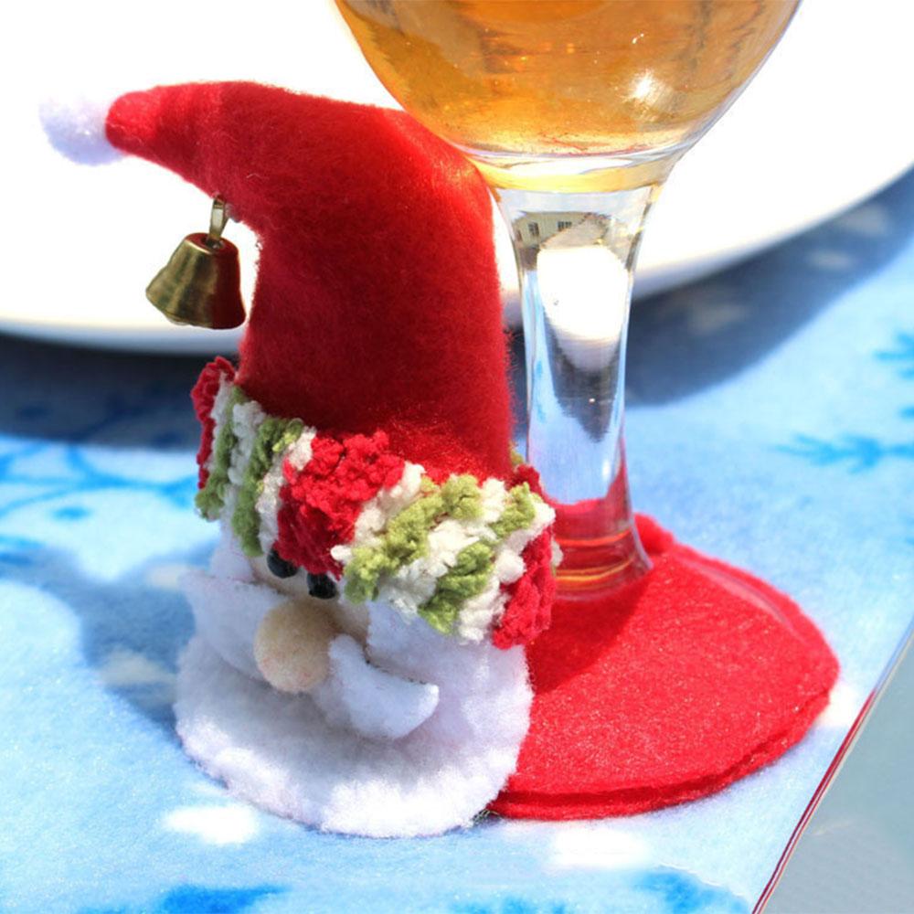 5 PCS / Pack Vánoční večírek Kolo tácky Santa Claus Cup Mat Vánoční sklenice Pocket 2017 Vánoční dekorace pro domácnost