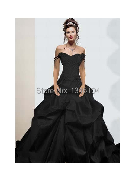 Medieval Gothic Black Ball Gown Bridal Gowns Colorful Off Shoulder Taffeta Non White Wedding Dresses For Non Traditional Wedding