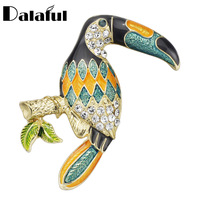 Dalaful Toekan Broches Kleurrijke Enamel Rhinestone Crystal Voor Vrouwen Trend Pelikaan Vogel Broche Pins Sieraden Accessoire Z042