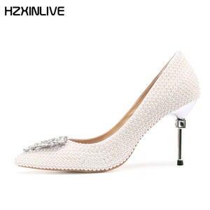 GGOB 2018 Women Wedding Shoes Pumps White Ladies High Heels cc7a70820993