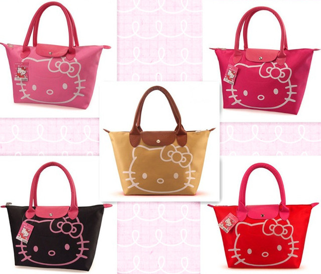 f8ce86b44ded Cute Cartoon Hello Kitty Women Waterproof Bag Mummy Shoulder Bags Ladies Handbag  Reusable Lunch Supermarket Eco Shopping Bag