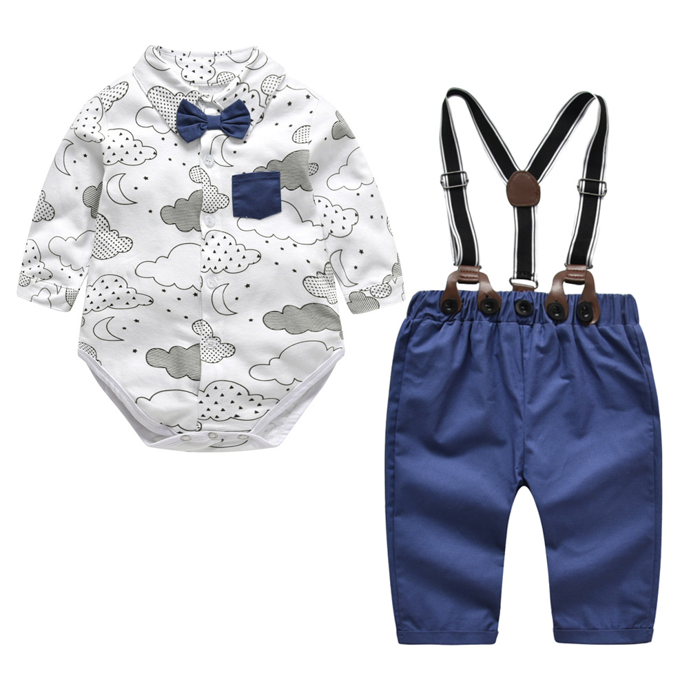 2018 Fashion Trousers Suspender Outfits Gentleman Turn-down Collar Top Jumpsuit Trousers Suspender Outfits Boy Kids Clothes