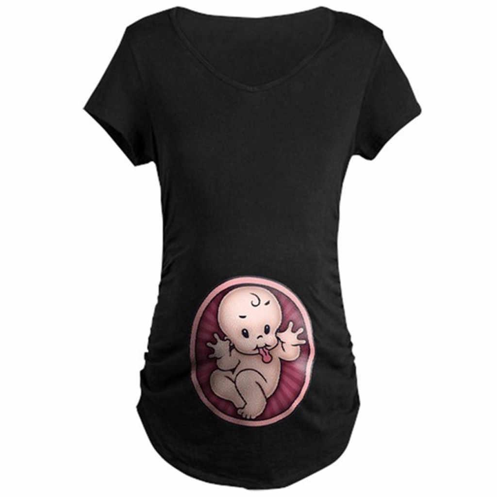 Plus ขนาด O - Neck Maternity Clothes เด็กน่ารักพิมพ์ O - คอสั้นเสื้อยืดเสื้อตั้งครรภ์ Tops ตั้งครรภ์เสื้อผ้าฤดูร้อน