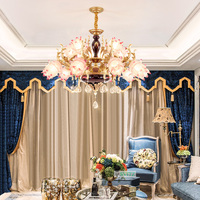 French Luxury Living Room Led Chandeliers Bedroom Zinc Alloy Crystal Chandelier Candle Restaurant Chandelier Lighting