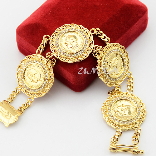 Mens Womens 29mm 22K Yellow Solid Gold Filled Bracelet Crystal Coin
